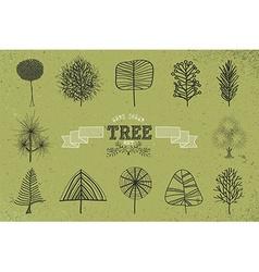 Custom Hand drawn tree icons set vector image