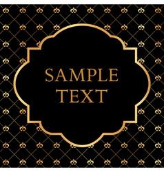 Golden Frame on Damask black Background vector image vector image