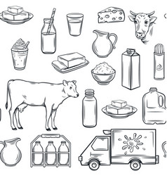 hand drawn milk product seamless pattern vector image vector image