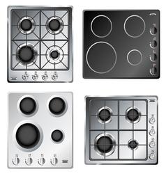 Kitchen stove hob set vector image