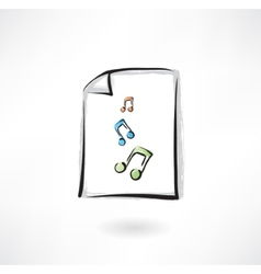 music paper grunge icon vector image vector image