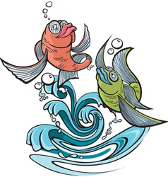 one fish two fish vector image vector image