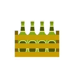 Pack of beer bottles icon flat style vector image