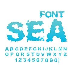 Sea font Water ABC Aqua alphabet Wet Letters Blue vector image