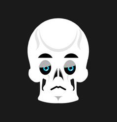 skull sad emoji skeleton head sorrowful emotion vector image
