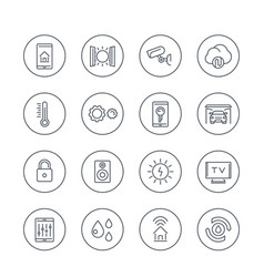 smart house technology system line icons in vector image vector image