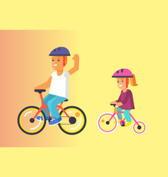 brother and sister ride on bikes in helmets vector image