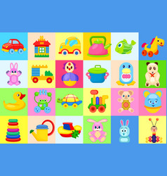 childrens toys big colorful set vector image