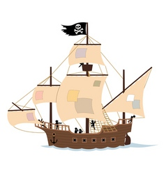 pirate ship on white vector image vector image
