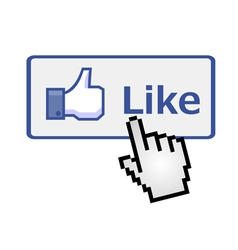 Pixelated hand clicking on like button vector image vector image