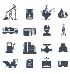 Set of oil and gas grey icons Petroleum industry vector image vector image