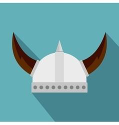 Viking helmet icon flat style vector