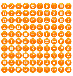 100 ambulance icons set orange vector