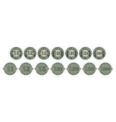 A set round gray-green seals or price tags vector