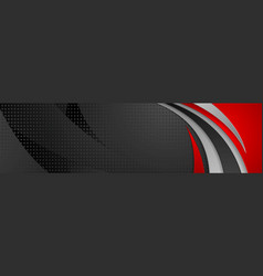 Abstract black and red tech wavy banner design vector
