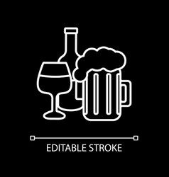 alcohol drinks white linear icon for dark theme vector image