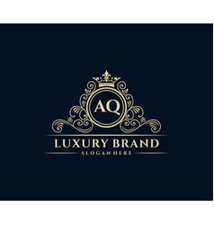 Aq initial letter gold calligraphic feminine vector