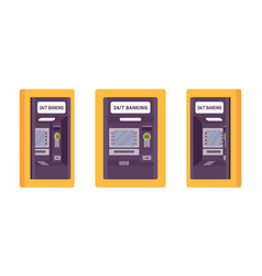 Atm built in a wall yellow color vector