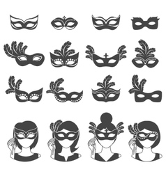 Ball Carnival Monochrome Icons vector image
