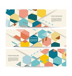 banners with abstract vintage polygonal hexagon vector image