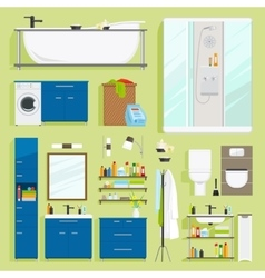 Bathroom equipment icons vector