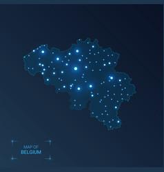 Belgium map with cities luminous dots - neon vector