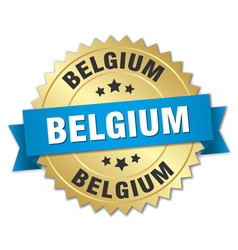 Belgium round golden badge with blue ribbon vector