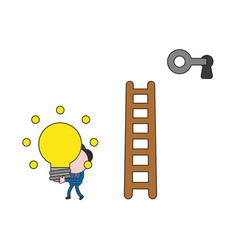 Businessman character reach keyhole with ladder vector