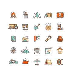 Camping and hiking flat icons for vector image