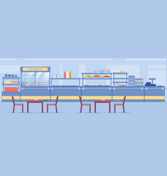 Canteen interior empty dining room with counter vector