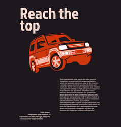 car ad poster red suv on black background with vector image