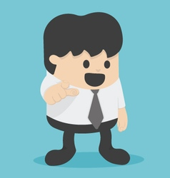 Cartoon businessman pointing to the front vector