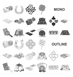 Casino and equipment monochrom icons in set vector
