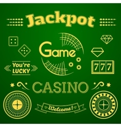Casino logo and label set game vector