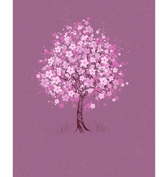 cherry on pink background vector image