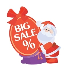 Christmas sale icon santa with poster vector