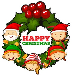 Christmas theme with mistletoes and people vector image