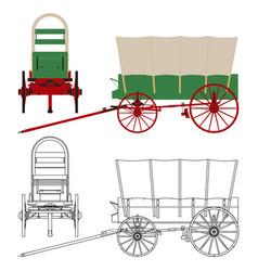 Chuck wagon popular covered wagon vector