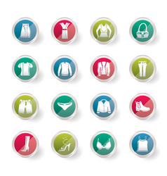 clothing and dress icons over colored background vector image