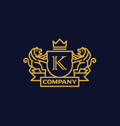 Coat of arms letter k company vector
