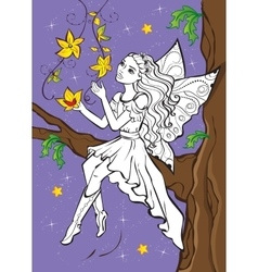 Coloring Book Of Fairy Elf Sitting On Branch vector image
