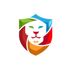 Creative abstract colorful lion shield logo vector