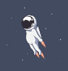 Cute astronaut flies through space at high speed vector