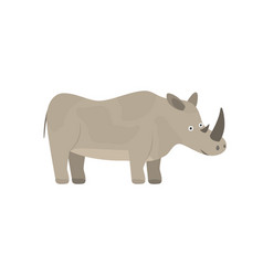 cute cartoon yellow gray smiling rhinoceros vector image