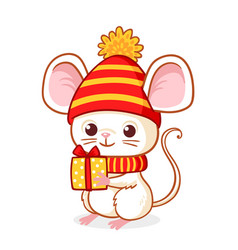 cute little mouse on a white background is holding vector image