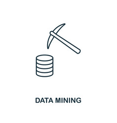 data mining outline icon thin line style from big vector image