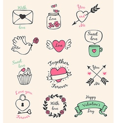 Decorative Valentine elements vector image