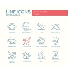 Dinosaurs species- line design icons set vector