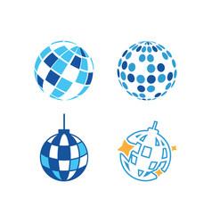 disco ball icon design set bundle template vector image
