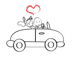 Doodle The bride and groom riding vector